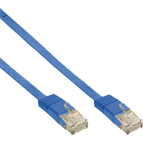 Patchkabel flach, U/UTP, Cat.6, blau, 15m